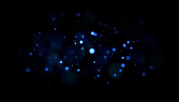 Partículas de polvo azul con retroiluminación real con destello de lente real