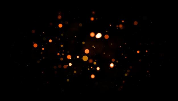 Partículas de polvo retroiluminadas doradas con destello de lente real