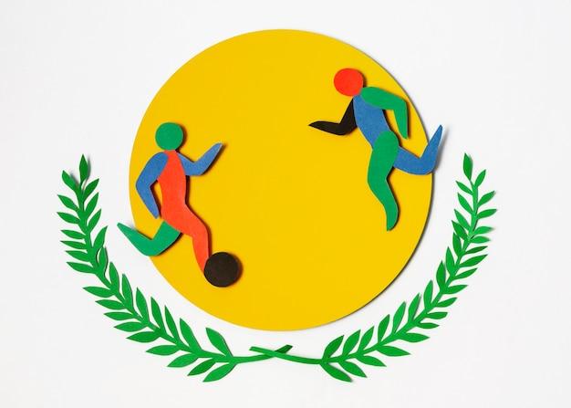 Partido de futbol en estilo papel