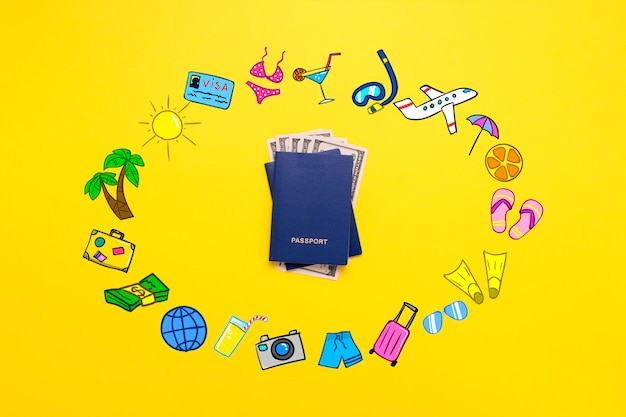Pasaporte y billetes de dólares e íconos agregados del viaje.