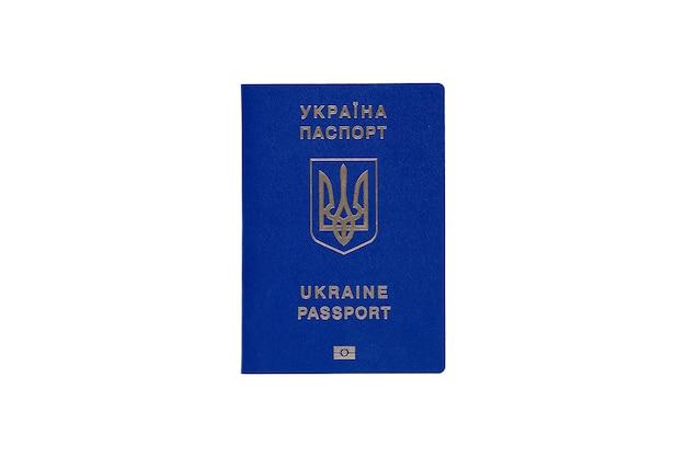Pasaporte biométrico de ucrania sobre un fondo blanco.
