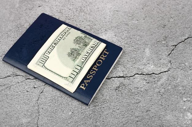 Pasaporte y dinero. endecha plana. lugar para una inscripción. visa en el extranjero. querida inmigración