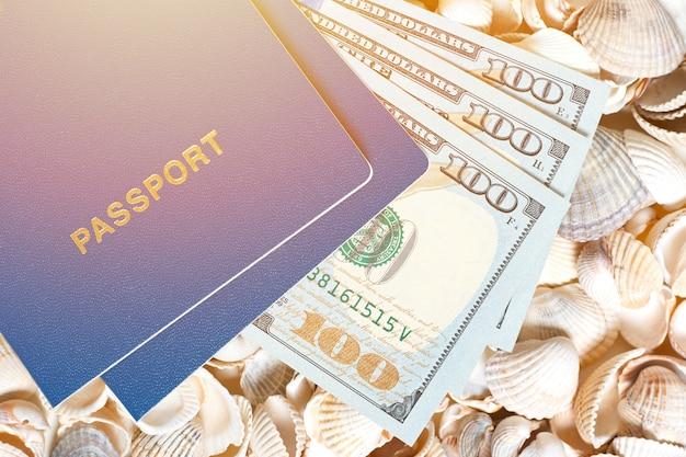 Pasaporte y dólares en conchas demuestran costosos viajes, turismo y tours en otro país
