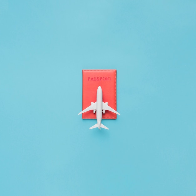Pasaporte en estuche rojo y avión de juguete.