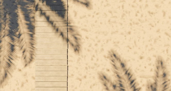 Pasarela de madera en la arena de la playa
