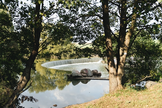 Un paseo peatonal por el río, río de verano, parque drozdy minsk, bielorrusia