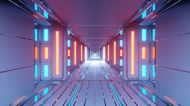 Pasillo futurista abstracto con luces azules y naranjas brillantes