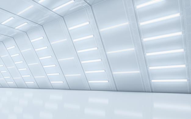 Pasillo iluminado de diseño interior. representación 3d.