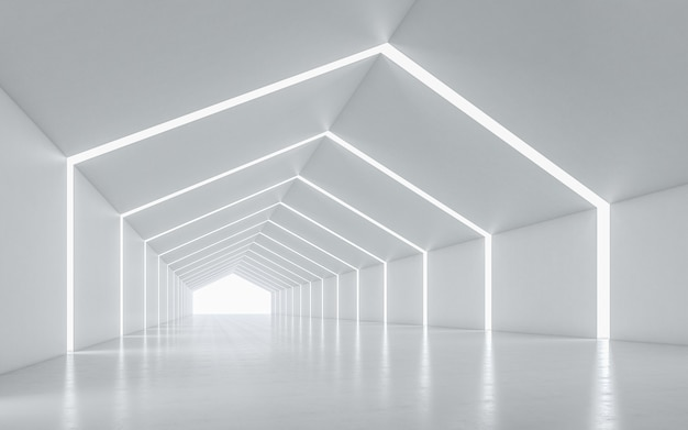 Pasillo iluminado de diseño interior.