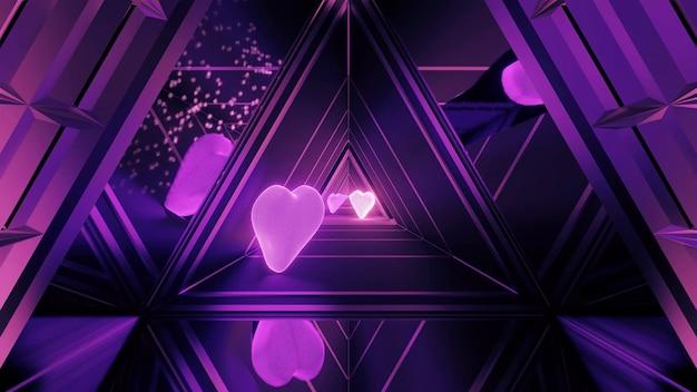 Pasillo iluminado festivamente con hermosos efectos de luz púrpura abstracta y corazones