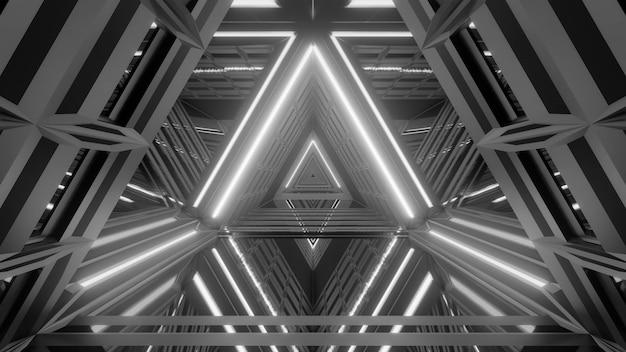 Pasillo iluminado futurista en escala de grises