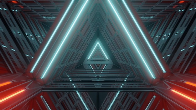 Pasillo iluminado futurista con hermosos efectos de luz abstractos