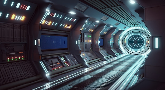 Pasillo nave espacial interior concepto de ciencia ficción representación 3d