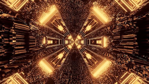 Pasillo de túnel pixelado redondo de ciencia ficción futurista con luces marrones y doradas