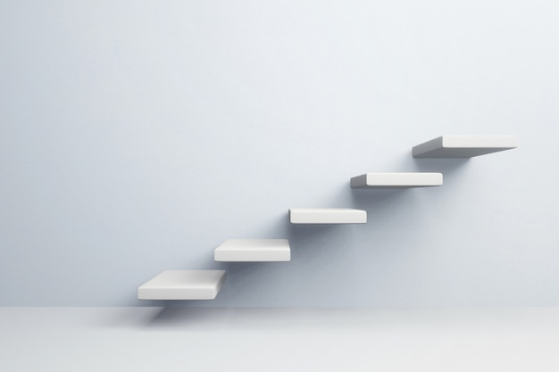 Paso de escalera blanca para el éxito del crecimiento.