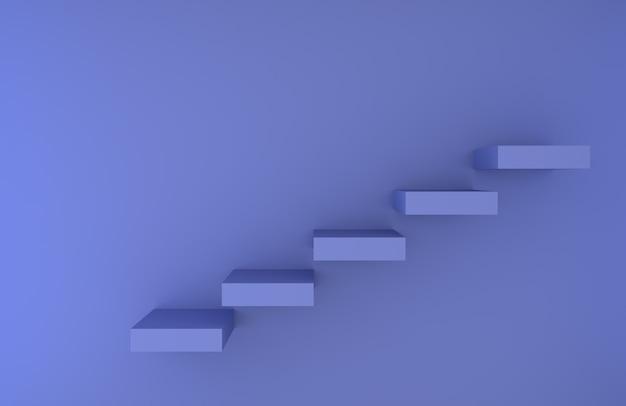 Pasos de escalera azul prestados fondo