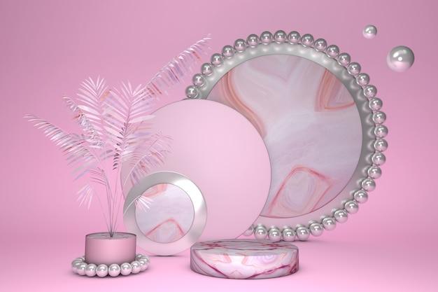 Pasos de podio de pedestal de mármol rosa brillante 3d con palmera para producto de promoción de marca