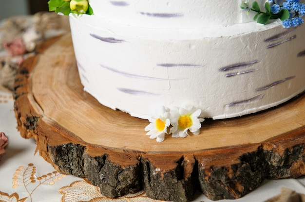 Pastel de bodas, delicioso buffet de dulces vacaciones con postres.