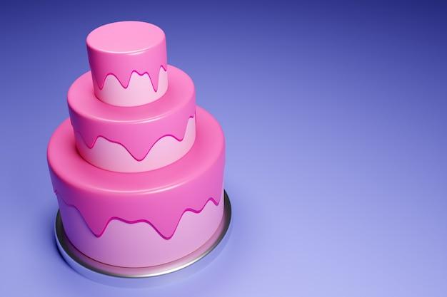 Pastel de bodas de tres niveles de renderizado 3d