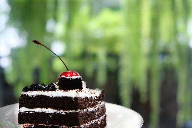 Pastel de chocolate con cerezas rojas colocadas arriba. comer mucha grasa.