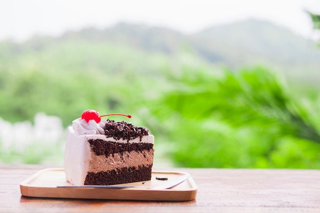 Pastel de chocolate con fondo de naturaleza de montaña suave enfocado