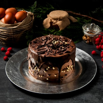 Pastel de chocolate de primer plano