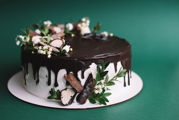Pastel de chocolate sobre fondo verde