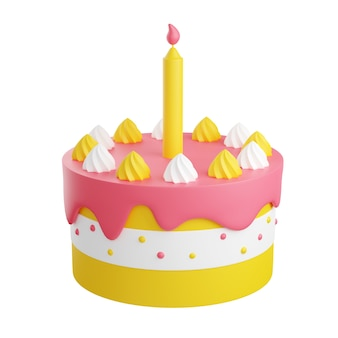 Pastel de cumpleaños con decoración y vela 3d render