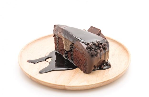 Pastel de chocolate en blanco