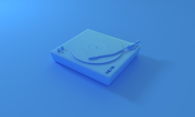 Pastel de disco de vinilo vintage en tocadiscos de dj sobre fondo azul tecnología de sonido retro para reproducir música