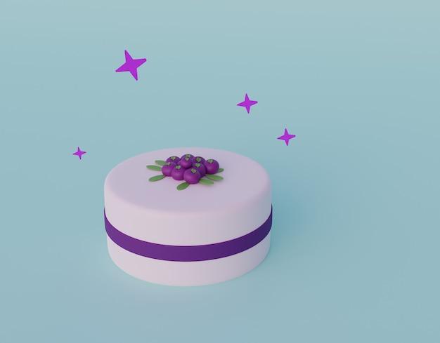 Pastel de estilo de dibujos animados con bayas aisladas.