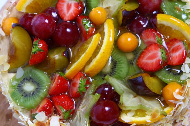 Pastel de frutas de postre