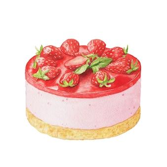 Pastel de gelatina de fresa de acuarela