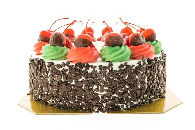 Pastel de helado con tema de navidad y alegre en la parte superior