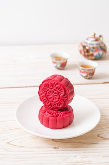 Pastel de luna sabor terciopelo rojo para el festival del medio otoño