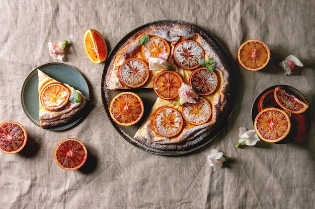 Pastel con naranja de sangre