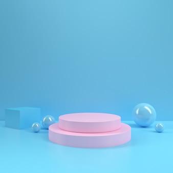 Pastel podio rectángulo forma círculo geometría rosado azul habitación interior producto maqueta fondo