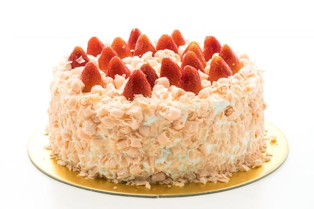 Pastel de vainilla postre con fresa en la parte superior
