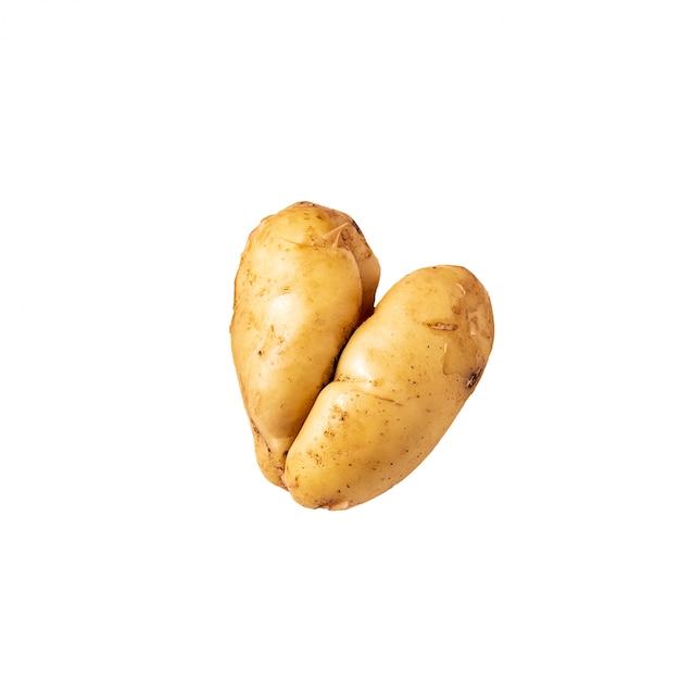 Patata doblada curvada fea endecha plana aislada en blanco