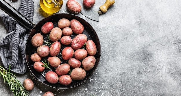 Patatas orgánicas crudas con especias sobre fondo gris