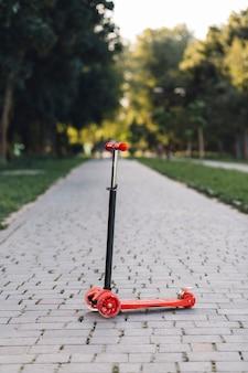 Patear scooter en pasarela en el parque