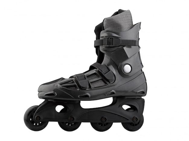 Patines de ruedas negro y gris aislados en blanco