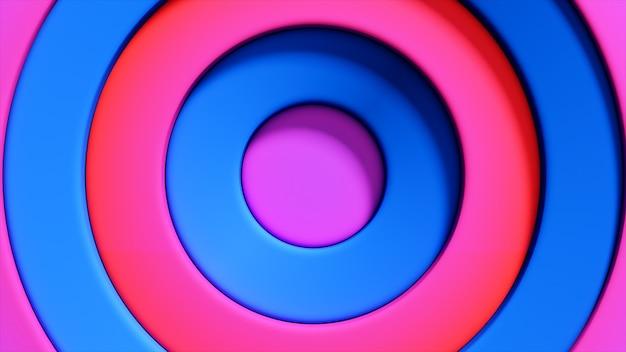 Patrón abstracto de círculos coloridos con efecto offset. anillos azules rojos.