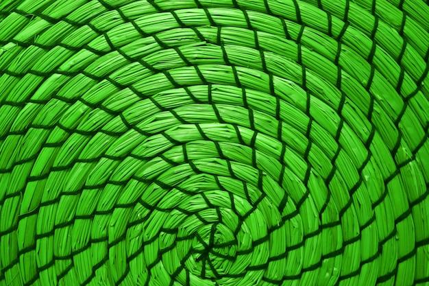 Patrón abstracto de estera de lugar tejida de jacinto de agua en color verde neón estilo pop art