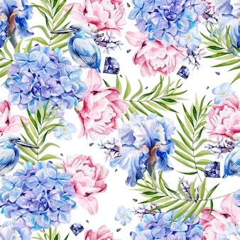 Patrón de acuarela brillante con hojas de palmeras y flores de hortensias, peonía e iris