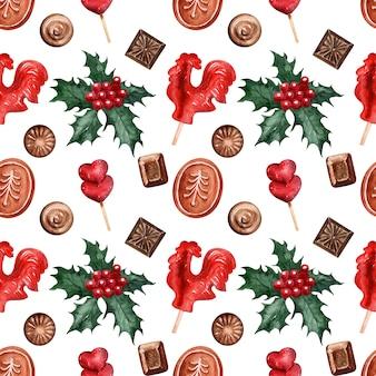 Patrón de acuarela dulces navideños