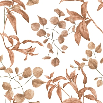 Patrón de acuarela enlosables sin fisuras con plantas