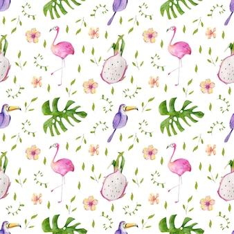 Patrón de acuarela de hojas, flores y pájaros tropicales