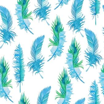 Patrón de acuarela con plumas.