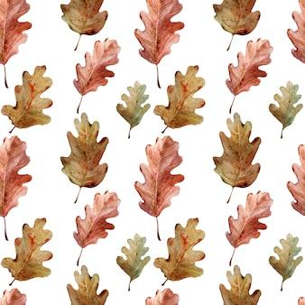 Patrón de acuarela con ramas de roble, hojas y bellotas